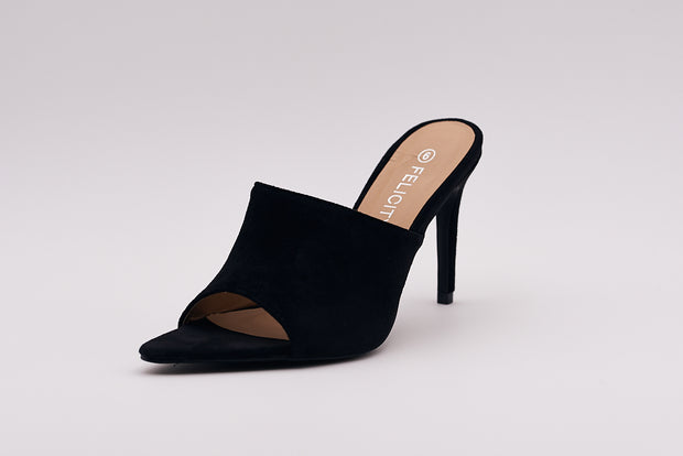Black Suede Peep Toe Mule - Berness