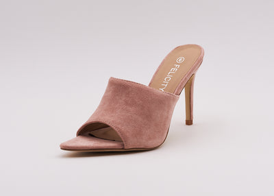 Pointed Peep Toe Mule In Pink - Berness
