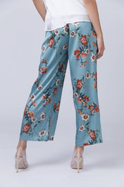 Floral Print Wide Leg Pants - Berness