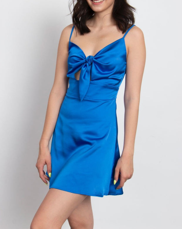Silk Front Tie Mini Dress - Berness