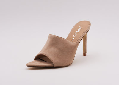 Pointed Peep Toe Mule In Nude - Berness
