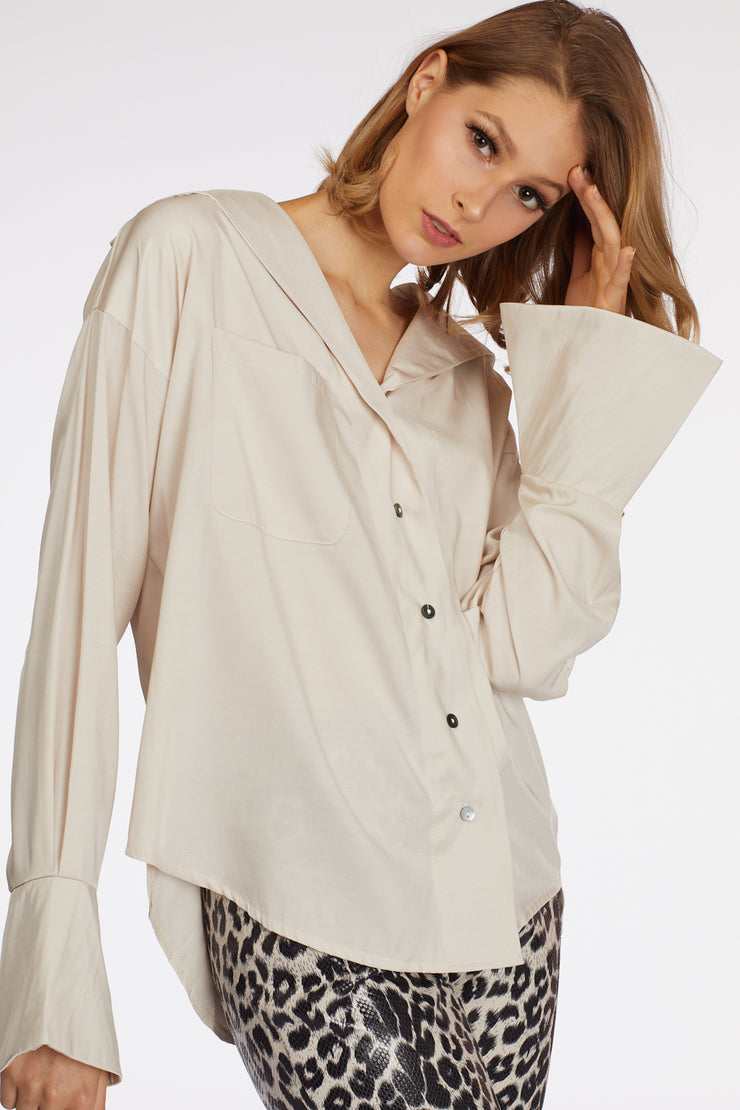 Wide Sleeve Hem Super Blouse - Berness
