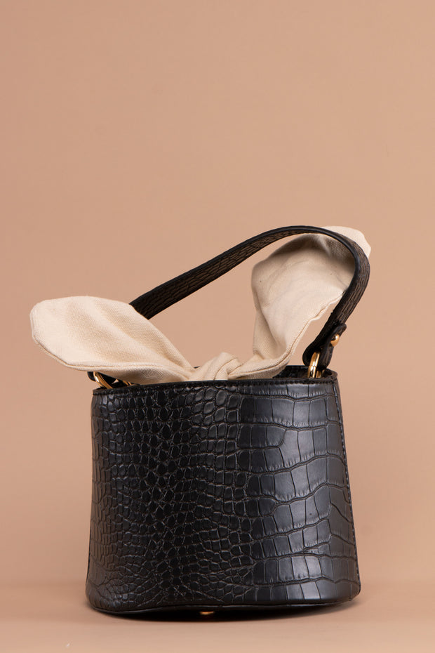 Black Croc Faux Leather Bucket Bag - Berness