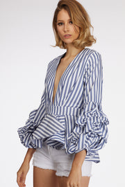 Striped Ruched Sleeve Frill Hem Blouse - Berness