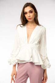 Rushed Sleeve Frill Hem Blouse - Berness