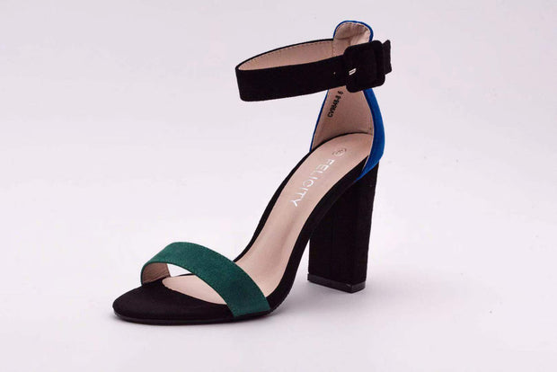 Blue Duel Color Block Heel - Berness