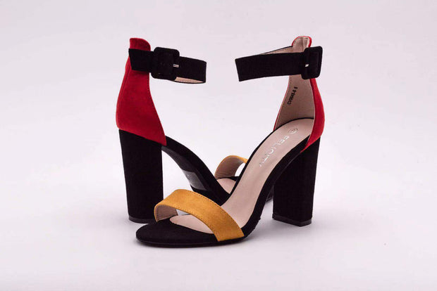 Red Duel Color Block Heel - Berness