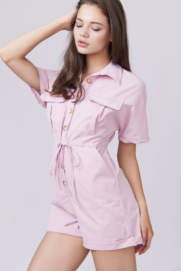 Button front Drawstring Waist Romper - Berness
