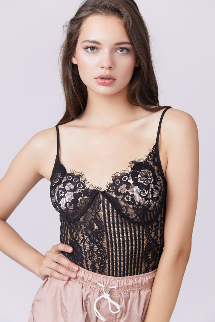 Lace Sheer Cami Bodysuit - Berness