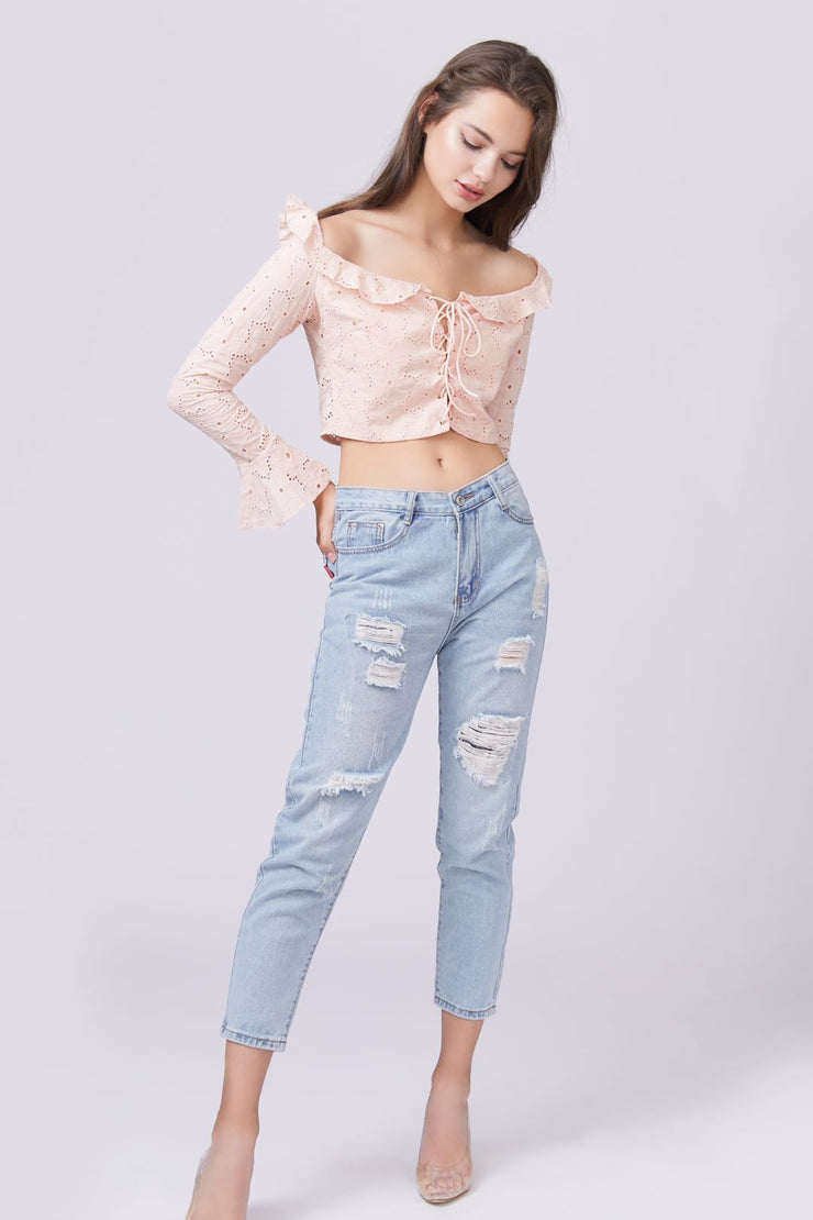 Ruffle Trim Long Sleeve Lace Top