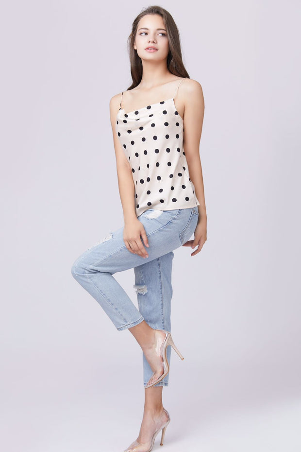 Polka Dot Cowl Neck Top - Berness