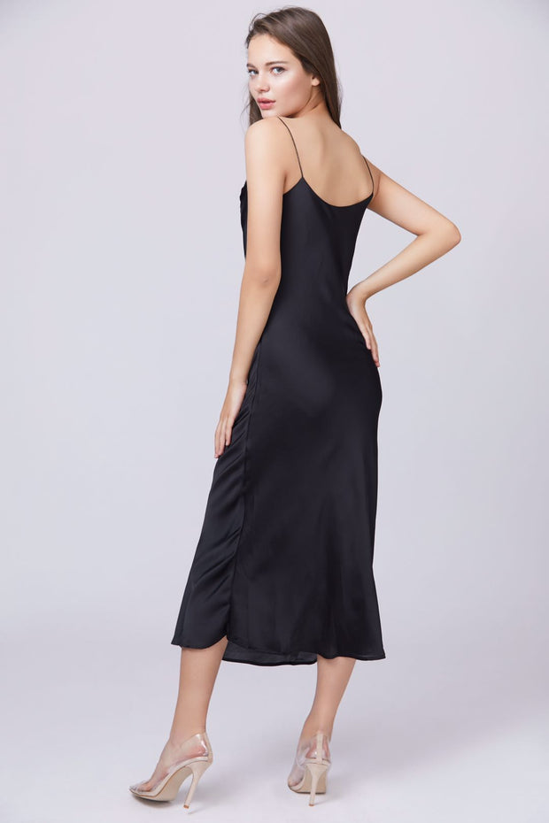Satin Cowl Neck Maxi Dress - Berness
