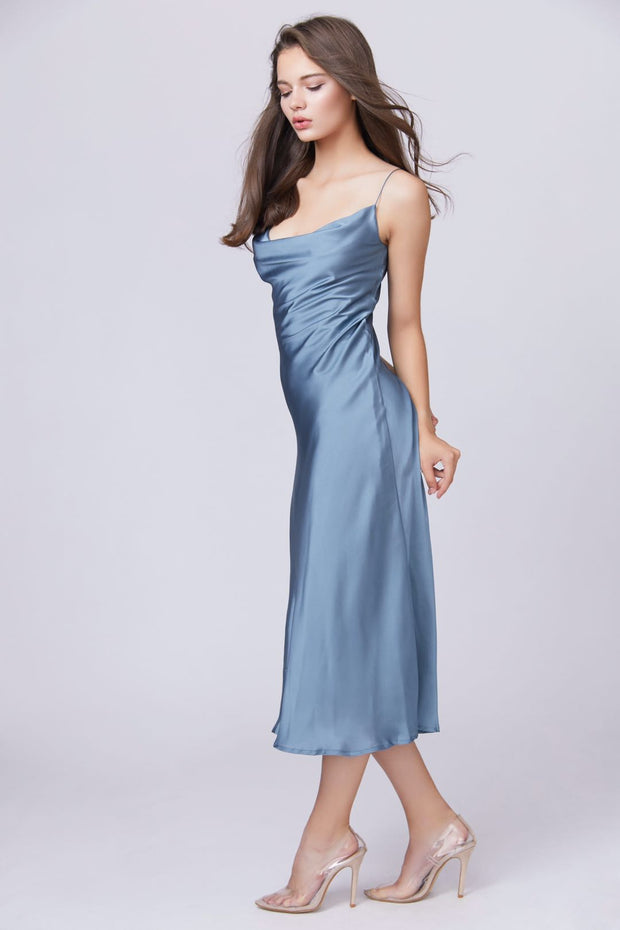 Satin Cowl Neck Maxi Dress