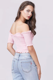 Frill Trim Shirred Crop Top - Berness
