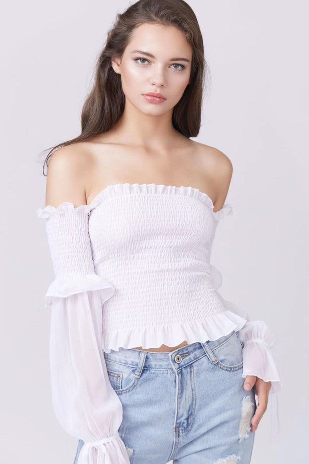 Shirred Off Shoulder Longsleeve Top - Berness
