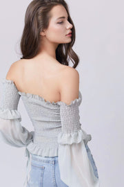 Shirred Off Shoulder Longsleeve Top