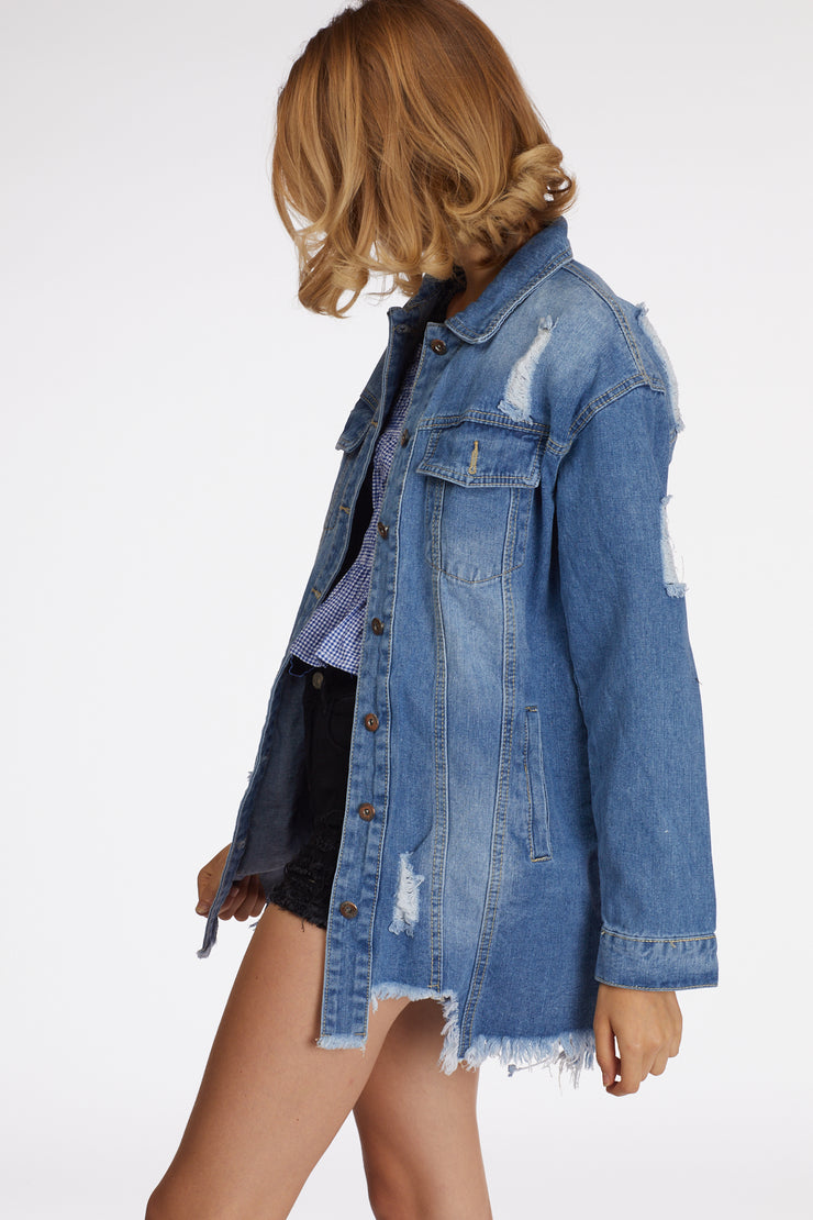 Light Wash Long Denim Jacket - Berness