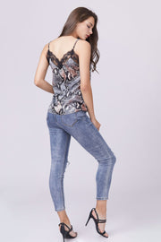 Lace Snake Print Cami Top - Berness