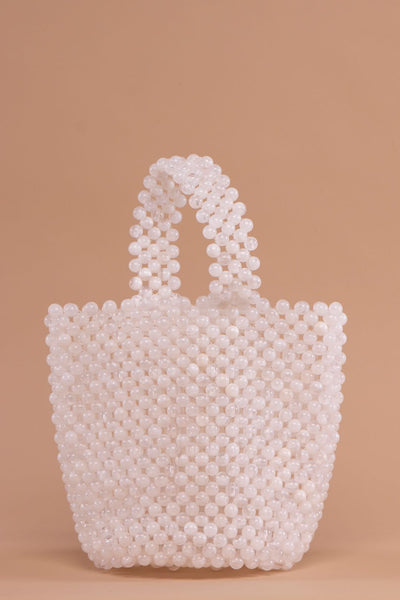 White Marbles Pearl Bucket Bag - Berness