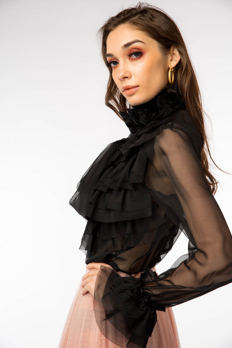 Mesh Level Frill Blouse - Berness