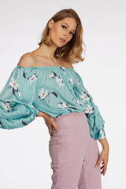 Off The Shoulder Flower Printed Body Suit - Berness