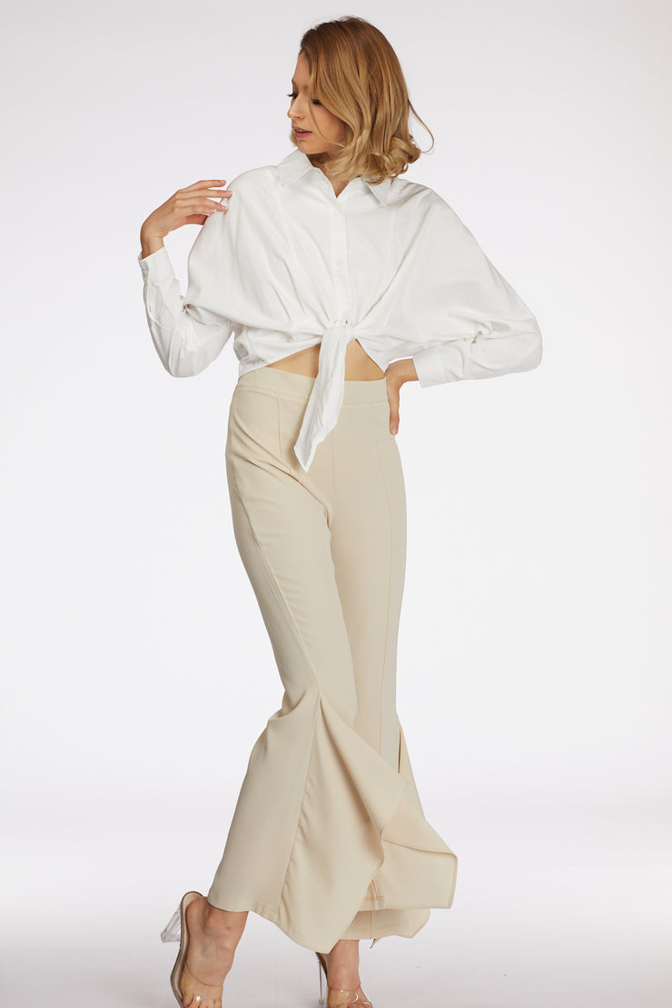 High Waist Wide Leg Detailed Trousers - Berness