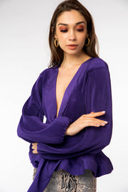 Super V-neck Front Tie Blouse - Berness