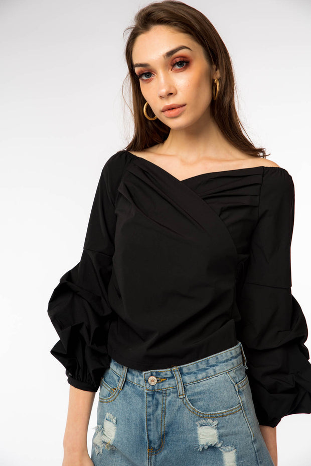 Wide Neck Rushed Sleeve Blouse - Berness
