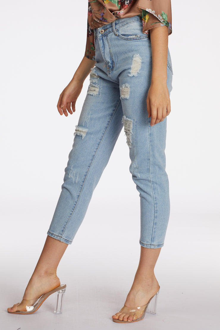 High Waist Light Washed Ripped Skinny Jeans - Berness