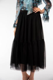 Maxi Mesh Tulle Polka Dot Skirt - Berness
