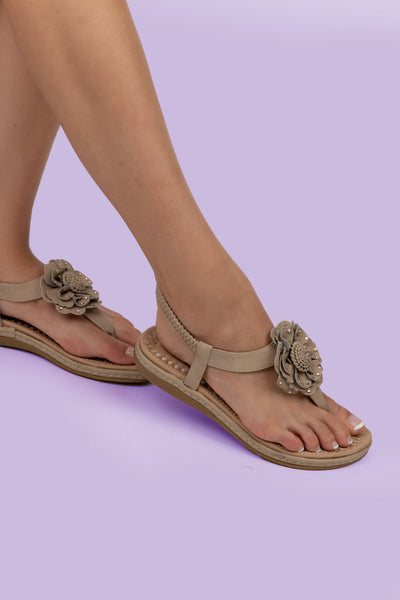 Beige Flower Detail Thong Sandals - Berness