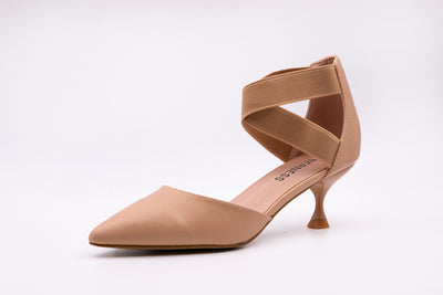 Beige Pointed Faux Leather Kitten Heels - Berness