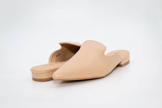 Beige Pointed Faux Leather Loafers - Berness