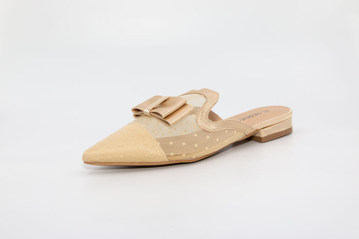 Beige Pointed Mesh Loafers - Berness