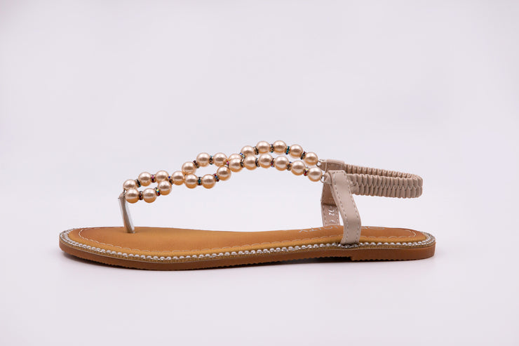 Beige Pearl Thong Sandals - Berness