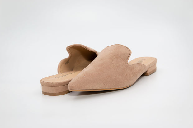 Beige Pointed Suede Loafers - Berness