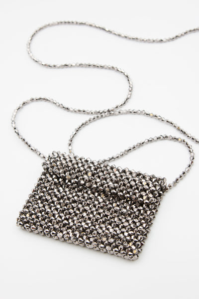 Black Beaded Micro Mini Bag - Berness