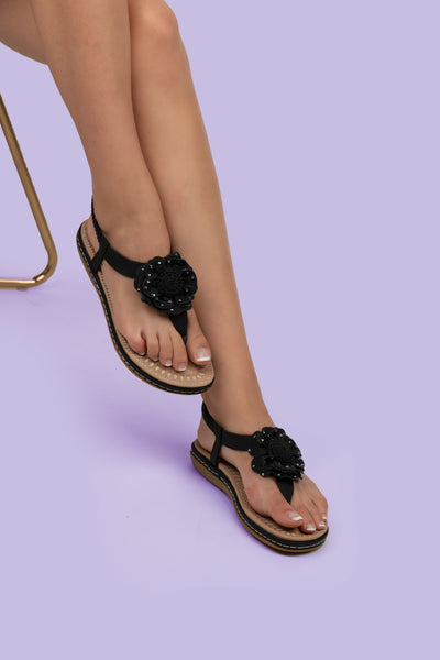 Black Flower Detail Thong Sandals - Berness
