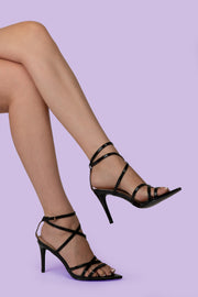 Black Pointed lace up Heel - Berness