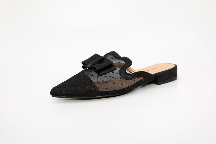 Black Pointed Mesh Loafers - Berness