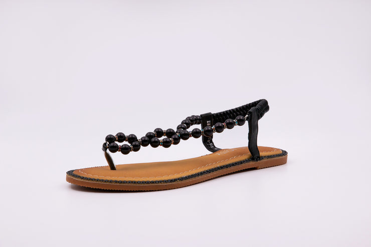 Black Pearl Thong Sandals - Berness