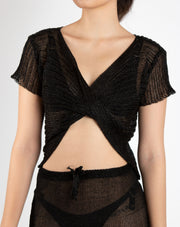 Metallic Twist Front Knitted Top - Berness