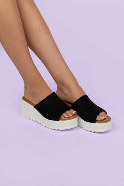 Black Suede Wedge Slides - Berness