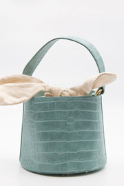 Blue Croc Faux Leather Bucket Bag - Berness