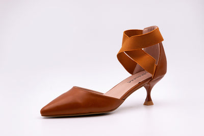 Brown Pointed Faux Leather Kitten Heels - Berness