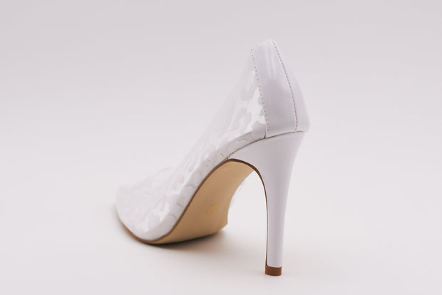 Perspex Court Heel In White Leopard Patent - Berness