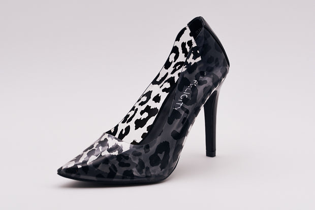 Black Leopard Perspex Court Heel - Berness