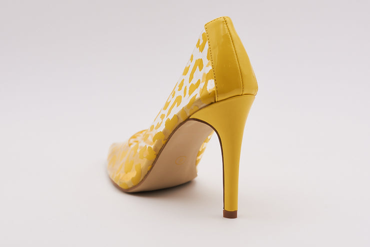 Perspex Court Heel In Yellow Leopard Patent - Berness