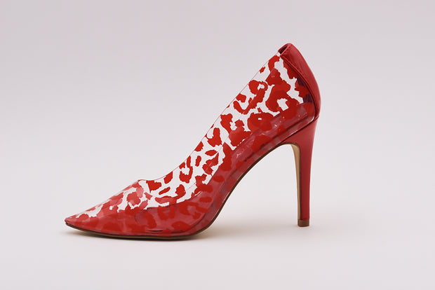 Perspex Court Heel In Red Leopard Patent - Berness