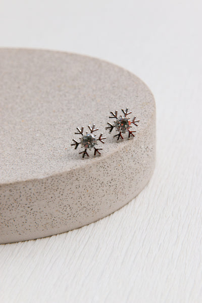 Snow Flake Crystal Earrings